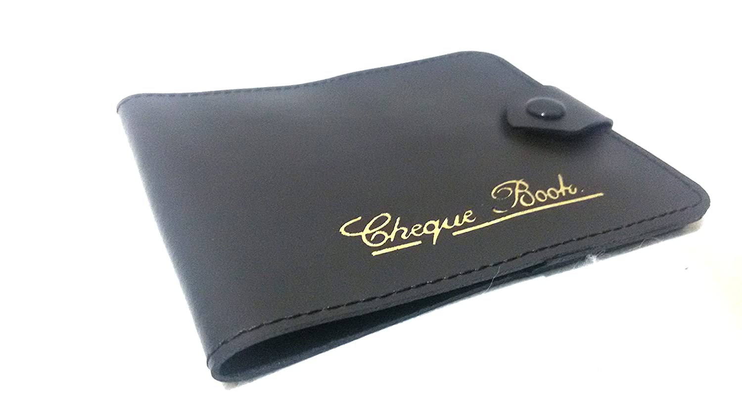 AKSHIDE Black Bonded Leather Style Cheque Book Holder /Leather Style Cheque Book Cover