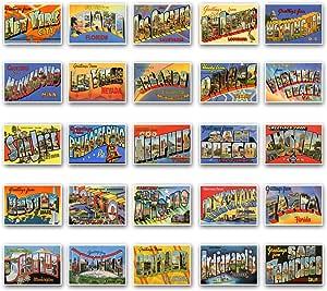 Juego de 50 postales reimpresos de grandes y famosas ciudades de los Estados Unidos Tarjeta grande con el nombre de la ciudad de EE. UU. (aprox. 1930s-1940s). Fabricado en EE.UU.: Amazon.es: Oficina
