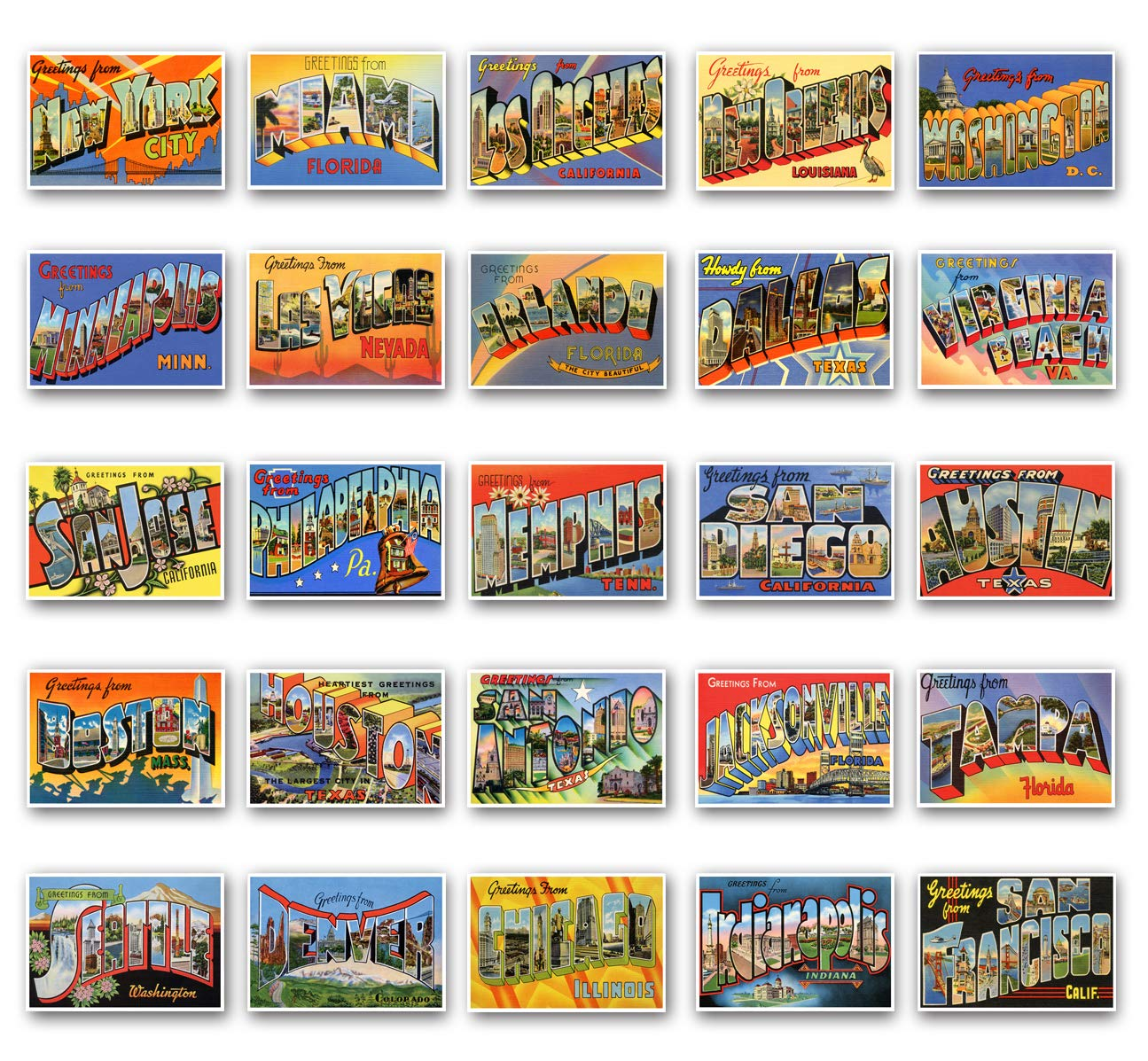 GREETINGS FROM big and famous United States cities vintage reprint postcard set of 50 postcards. Large Letter major US city name post card variety pack (ca. 1930's-1940's). Made in USA.