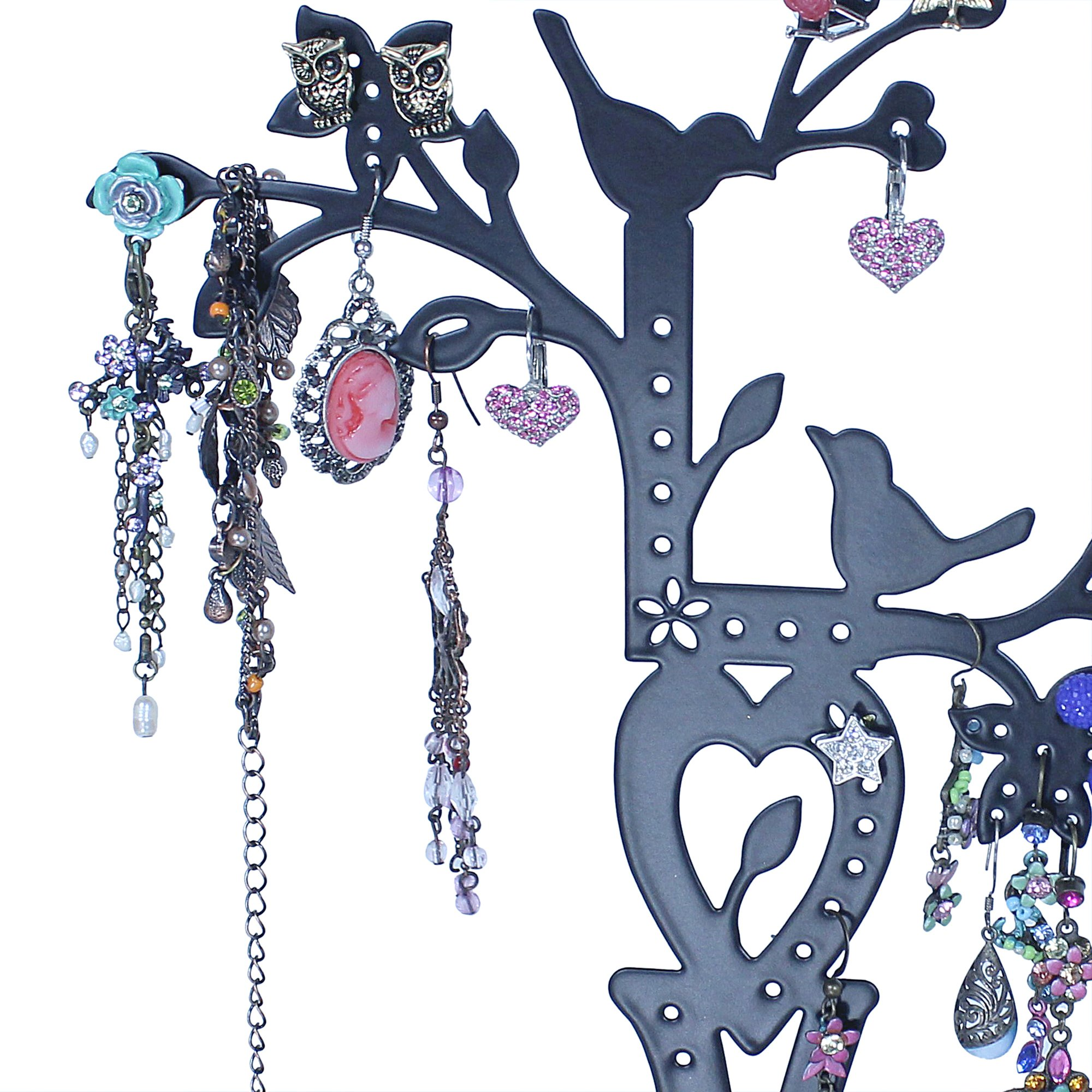 LOVE Jewelry Tree Stand Black with Two Lovebirds Tweeting, Removable Magnet Bottom, Tray Base, Metal by JewelryNanny (Image #3)