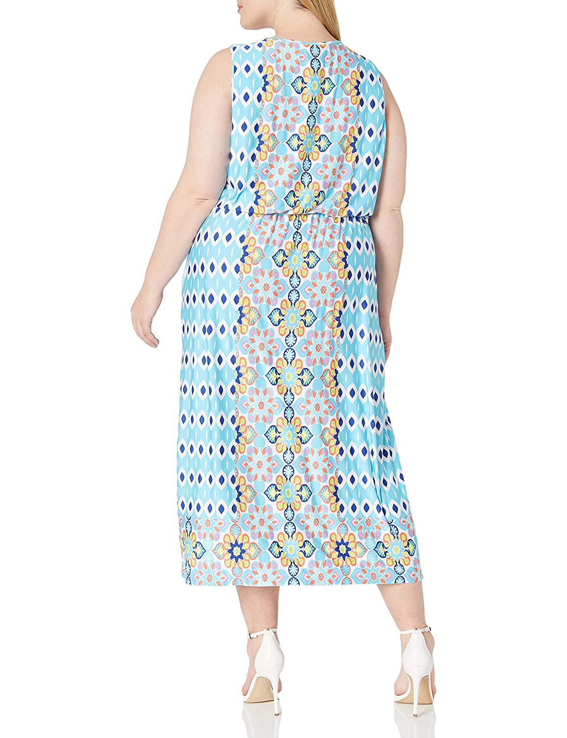 Womens Plus-Size Printed Maxi Dress with Embellished Boat-Neck Ruby Rd