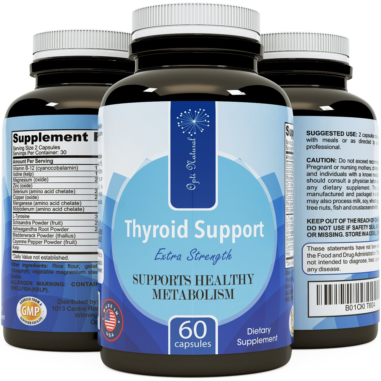 Thyroid Booster Formula Extra Strength Thyroid Support Dietary Complex Powerful Antioxidants Boosts Metabolism Promotes Weight Loss Increase Energy Ward off Fatigue for Women and Men by Opti Natural