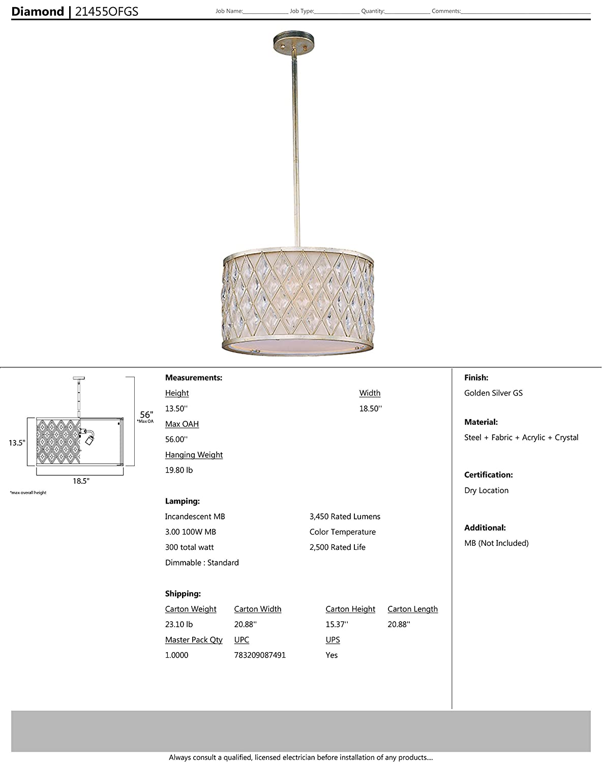 Damp Safety Rating Golden Silver Finish 3450 Rated Lumens MB Incandescent Incandescent Bulb Glass Shade Material Standard Dimmable Maxim 21455OFGS Diamond 3-Light Pendant Glass 100W Max.