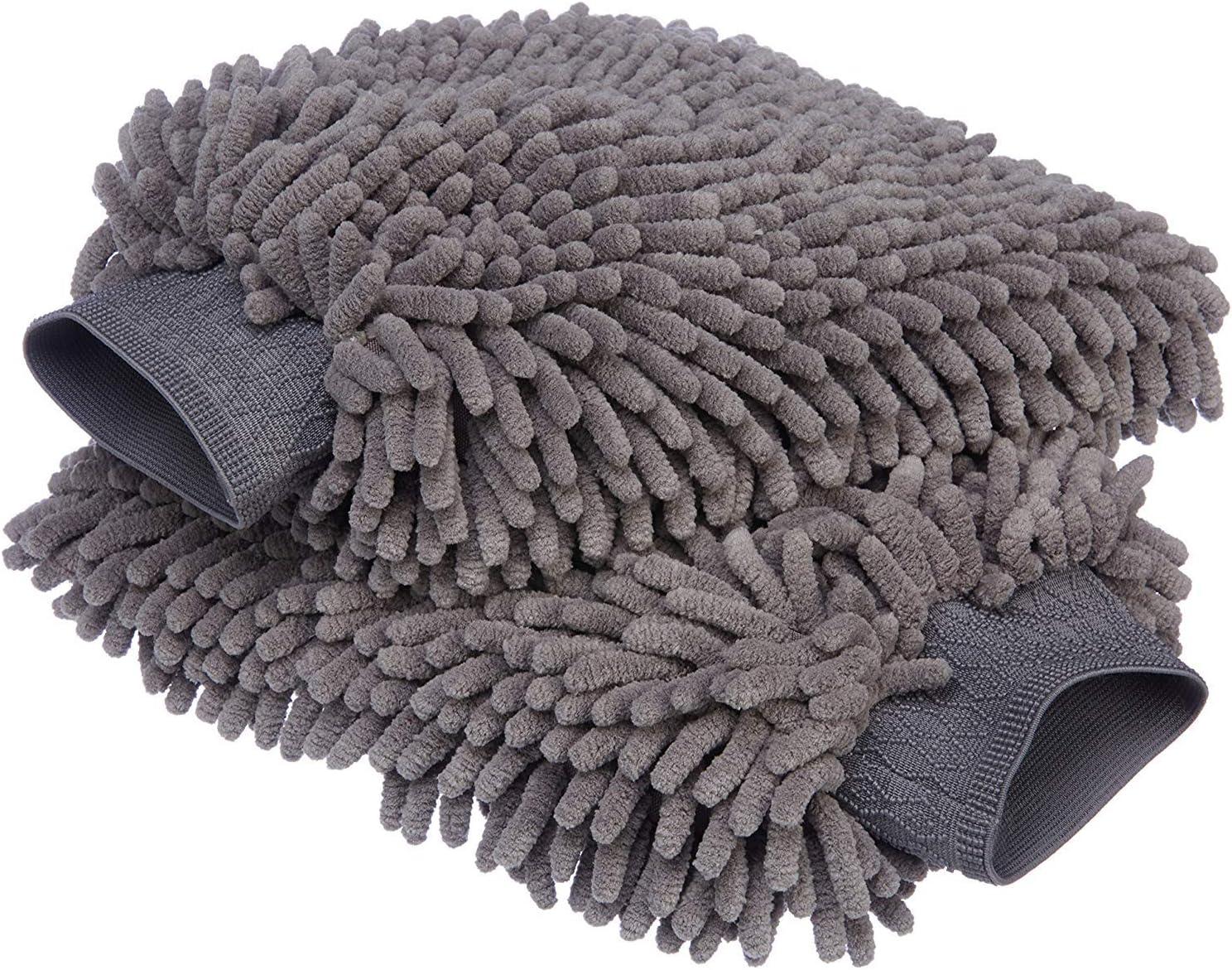 AmazonBasics - Mitón para lavado de coches de microfibra de lujo, Paquete de 2