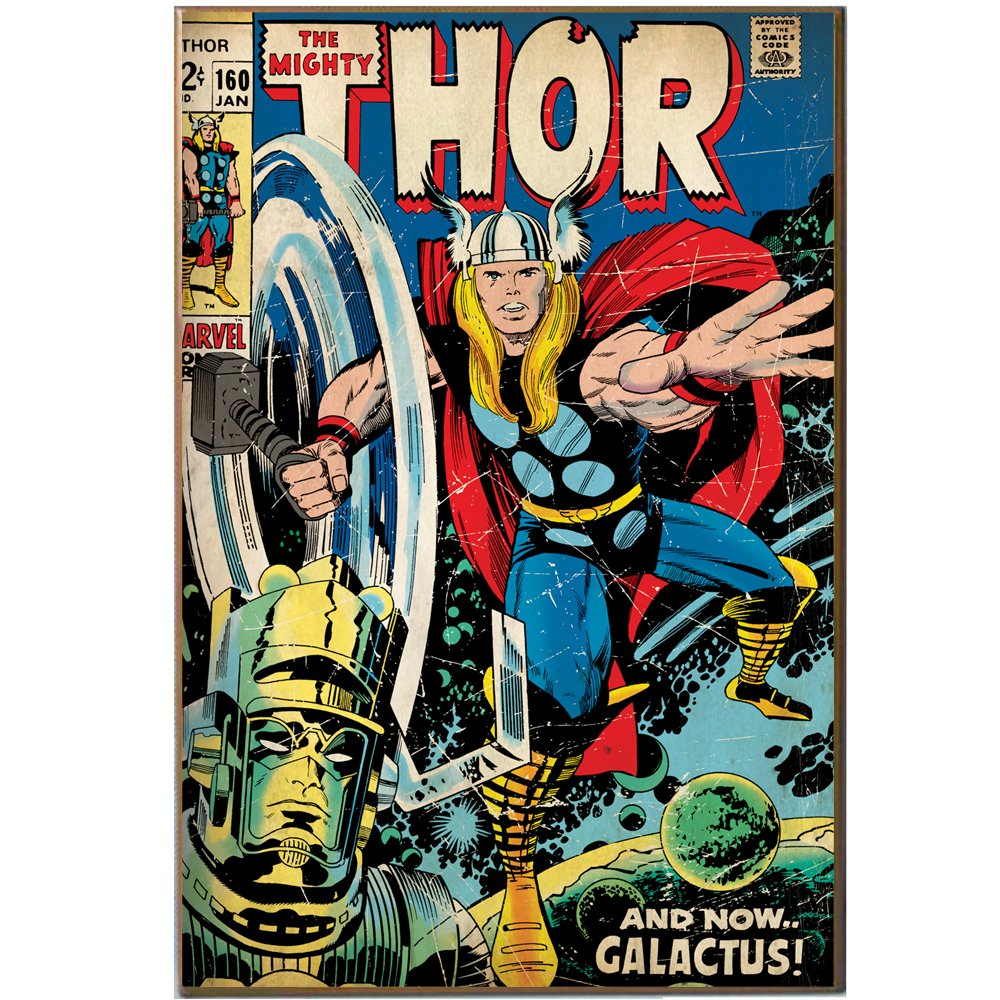 Amazon.com: Marvel Silver Buffalo MV2736 Mighty Thor And Galactus Wood Wall  Art Plaque, 13 X 19 Inches: Home U0026 Kitchen