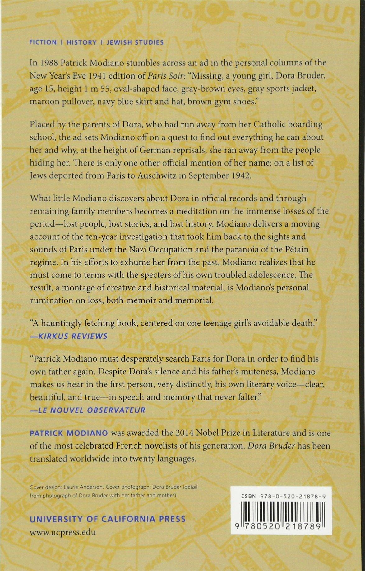 Amazon: Dora Bruder (9780520218789): Patrick Modiano, Joanna Kilmartin:  Books