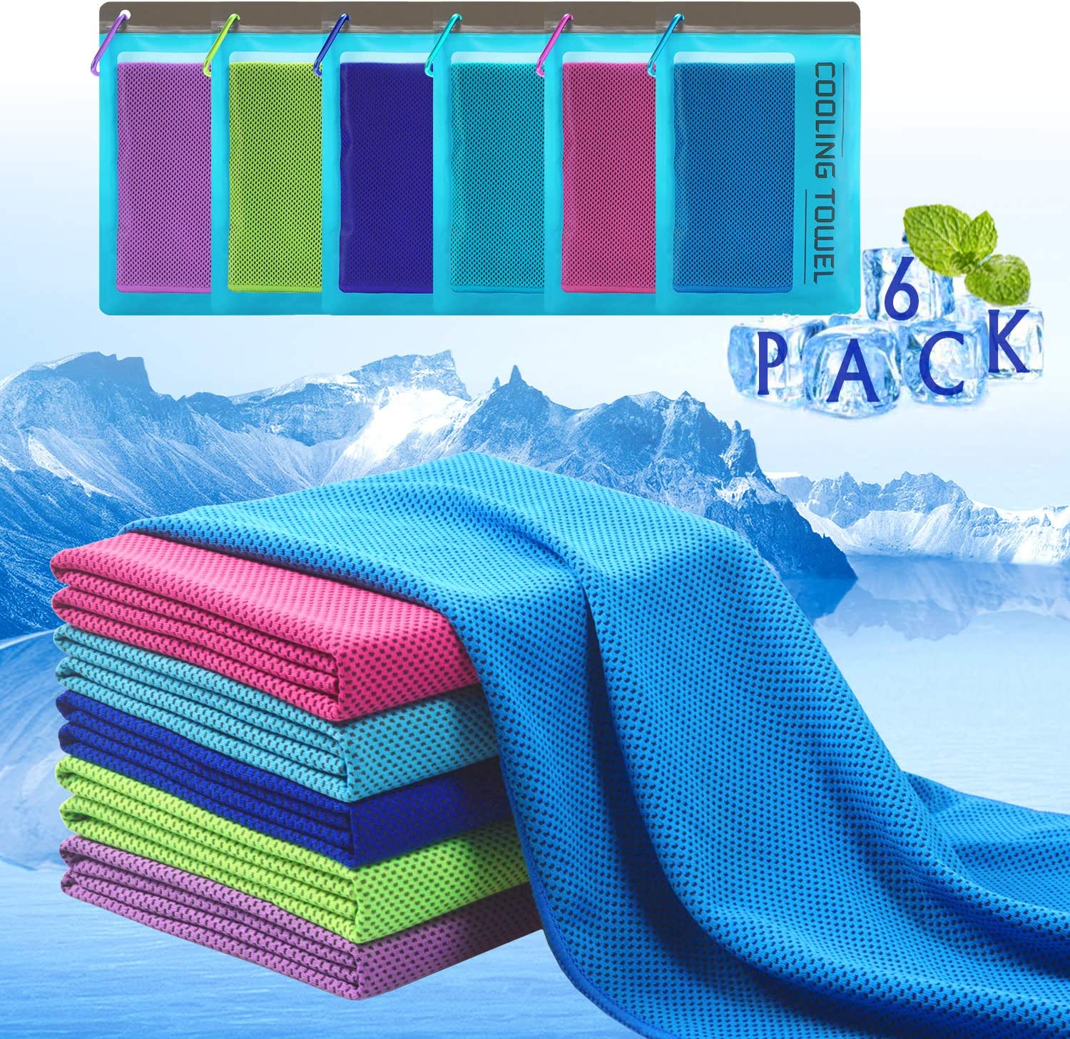 "Plazenzon Cooling Towels for Neck Wrap[6 Pack], Cool Towel Towel for Workout Sports Gym Athlete Hot Weather, Ice Cold Snap Towel for Men Women and Dogs[47""x12""]"
