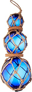 "Hampton Nautical 3xglass-101 Triple Blue Japanese Ball Fishing Brown Netting Decoration 11""-Glass Buoy Float"
