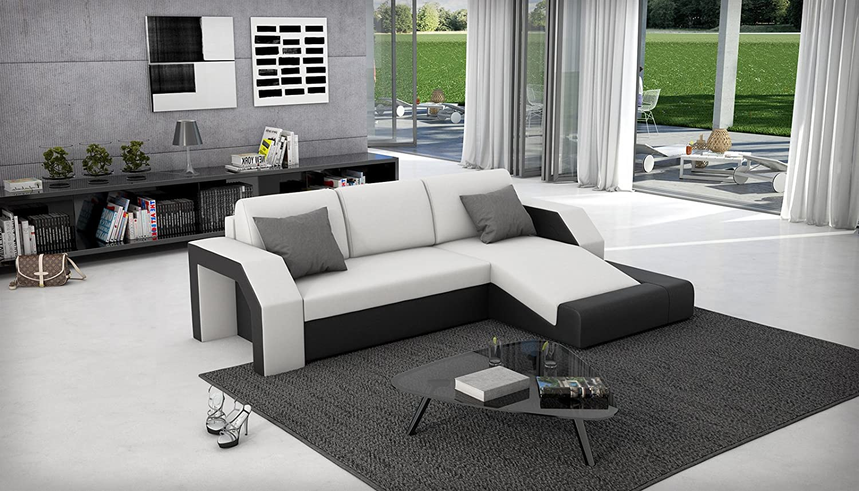 SAM® Ecksofa Milagro 281 x 145 cm in weiß schwarz in einem futuristischen Design verfügt über Strauraum pflegeleichte Oberfläche Lieferung mit einer Spedition zerlegt