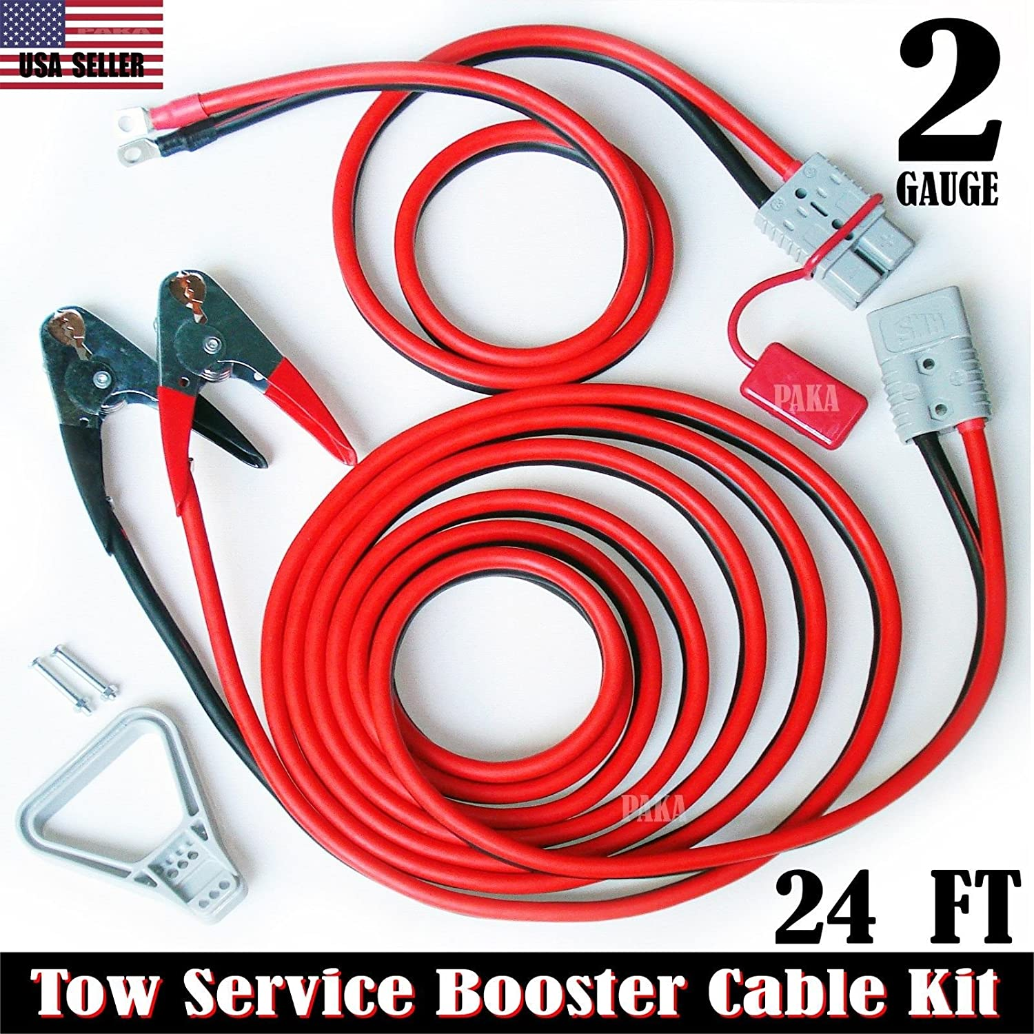 2 GAUGE 24 FT QUICK DISCONNECT JUMPER-BOOSTER CABLE SET,TOW-SERVICE