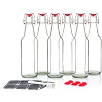Swing Top Glass Bottles Ceramic Tops - Flip Top Bottles for Kombucha, Kefir, Beer - Clear Color 16oz Size - Set of 6 Brewing Bottles - Leak Proof with Easy Caps - Bonus Gaskets Quick Cleaning Design