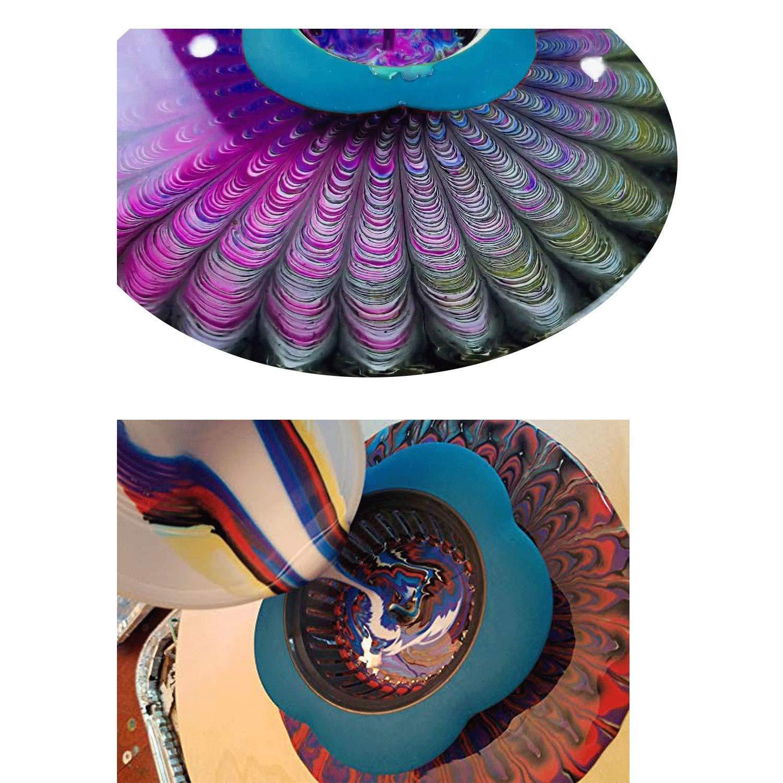 Hizoop 4 Pezzi acrilici colini di versamento Forniture di Vernice di plastica B Filtro in Silicone Fiore Cestino di Scarico Vernice acrilica Forniture di versamento