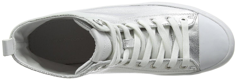 Calvin Klein Sneaker Jeans Damen Zazah Metal Canvas/Flocking Hohe Sneaker Klein Silber (Svw 000) 11cc3a