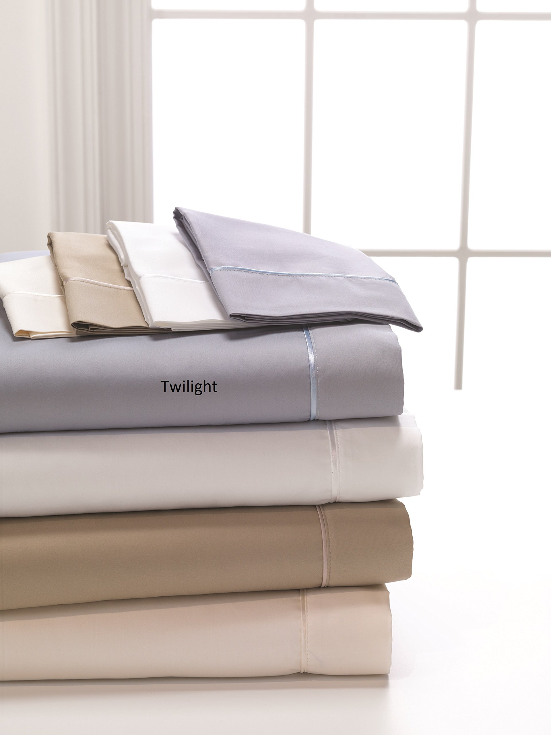DreamFit 4-Degree 400 Thread Count Preferred 100-Percent Egyptian Cotton Sheet Set, King, Twilight