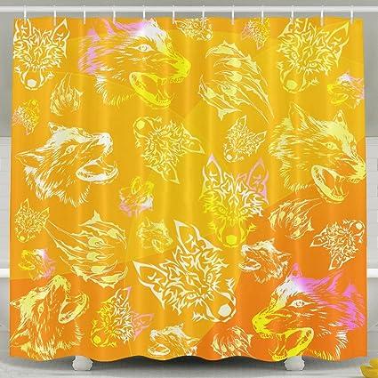 Wolf Head Paw Orange Shower Curtain Fabric Bathroom Set72x60 Inch