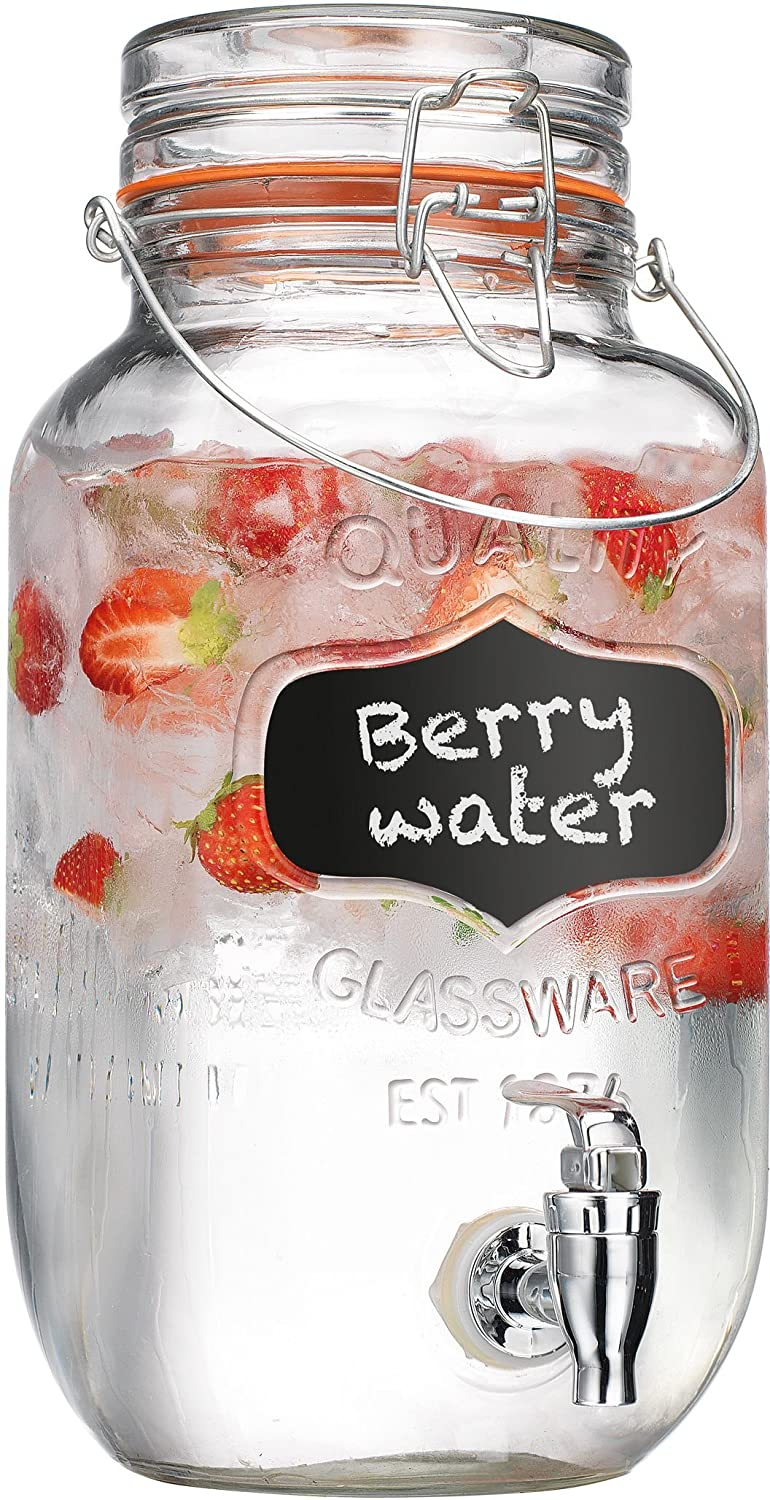 Home Essentials & Beyond Quality Glassware 1 gallon Beverage Dispenser with Chalk Board, Clear