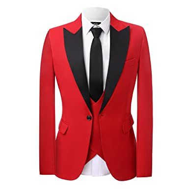 42649382b6f Vintage Red 3 Piece Men s Suits Wedding Suits Slim Fit Groom Tuxedos ...