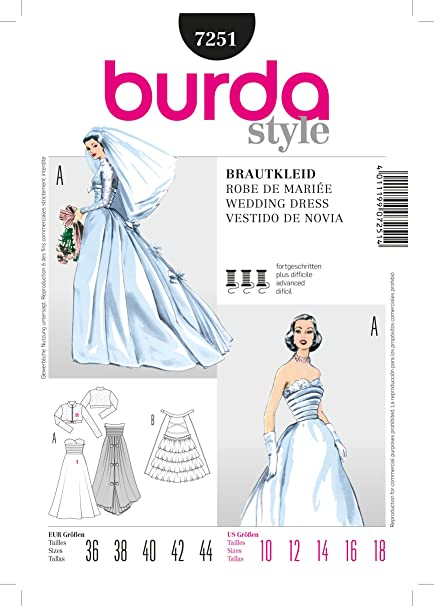 7251 Burda Style Wedding Dress Sewing Pattern Sizes 10-18
