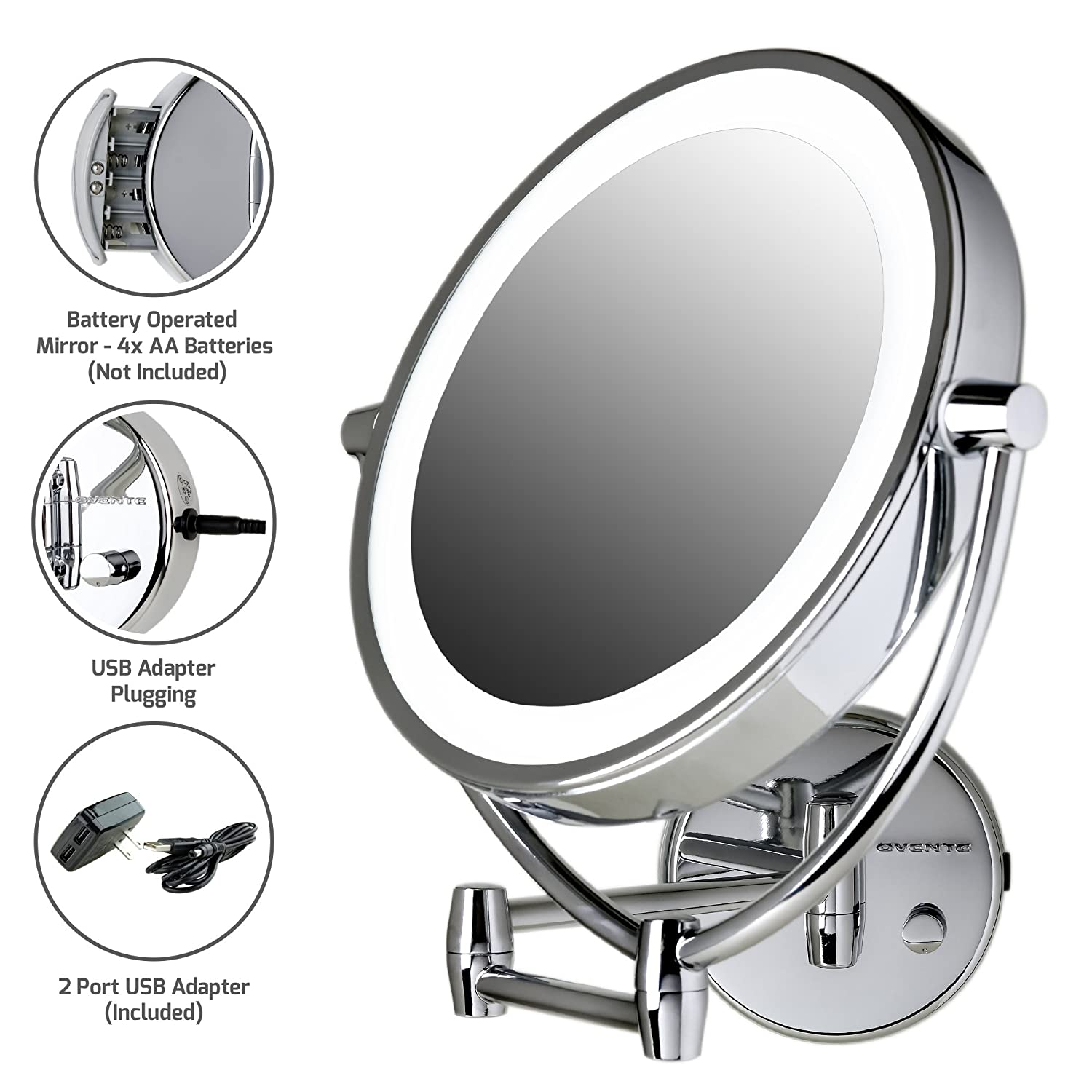 Ovente MLW45CH 9.5-Inch LED Lighted Wall Mount Makeup Mirror, 1x/10 Magnification, Polished Chrome Ovente (Beauty)