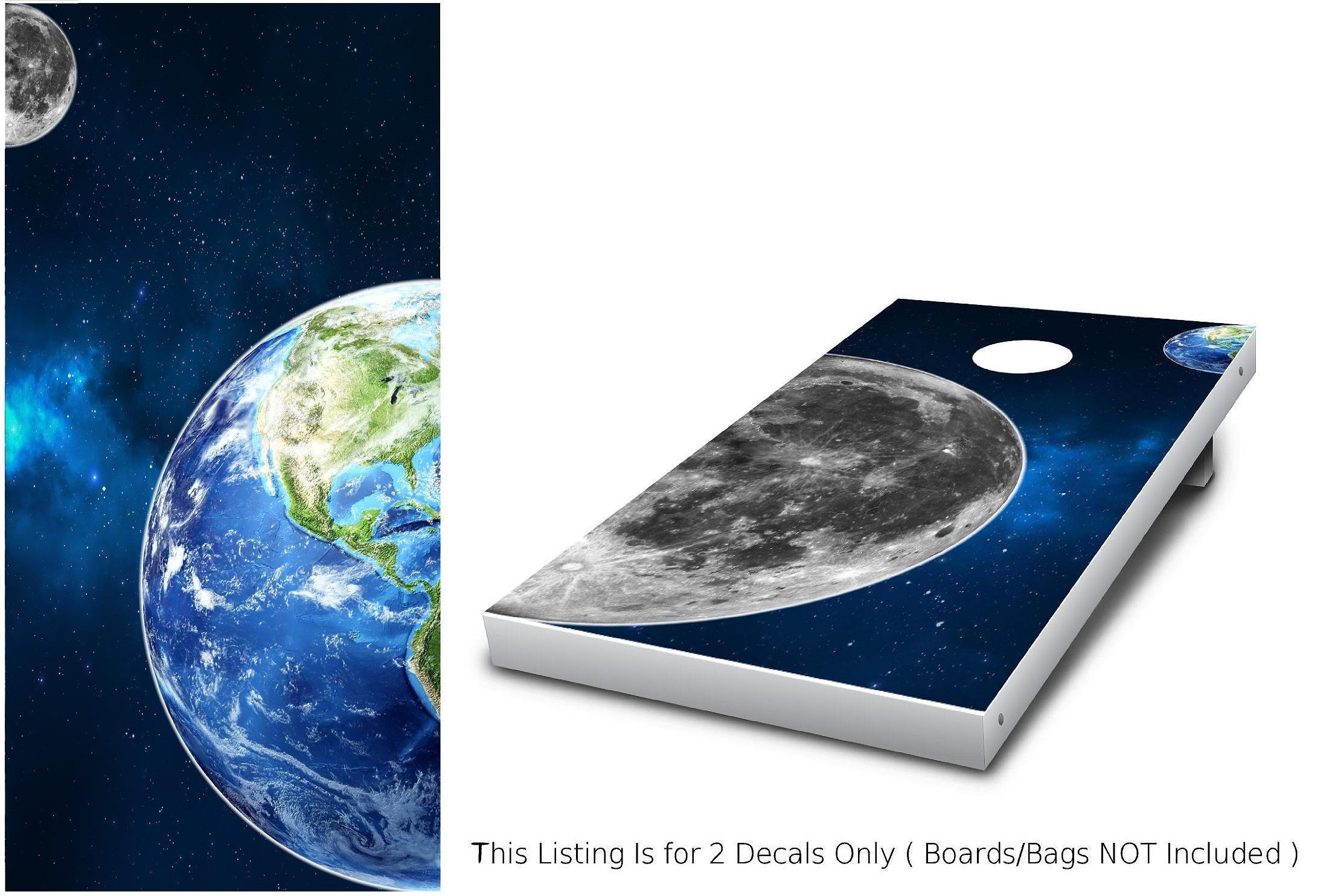 Earth & Moon Cornhole Wrap set, 2 decals (24'' x 48'') Space Solar system Custom Nebula Milky Way Galaxy Graphic sticker Backyard boards game