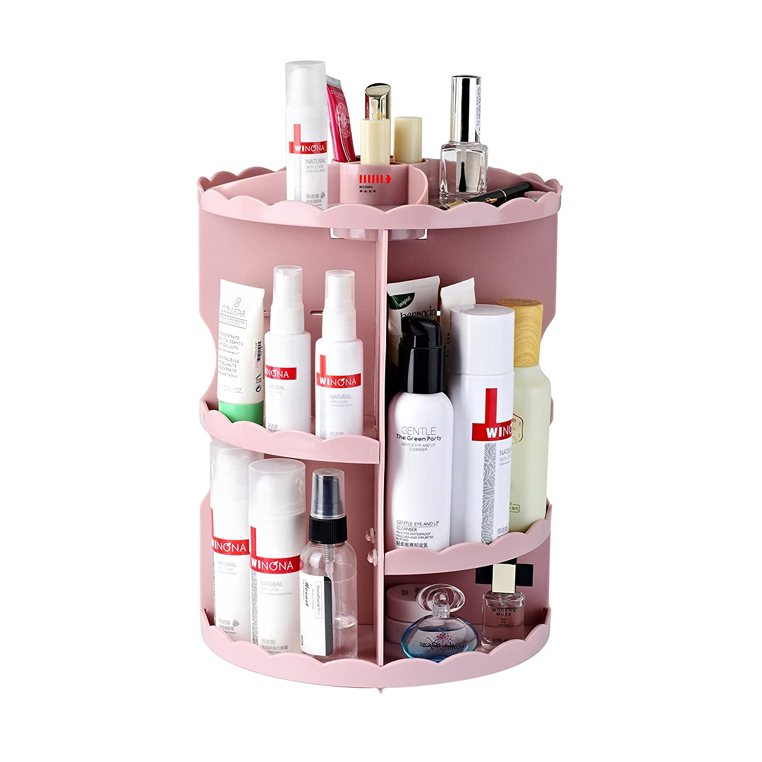 Boxing 360 Rotating Makeup Organizer Fits Cosmetics and Accessories