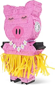 Juvale Small Hawaiian Pig Pinata, Luau and Tropical Party Supplies, 16.5 x 10 x 3 Inches