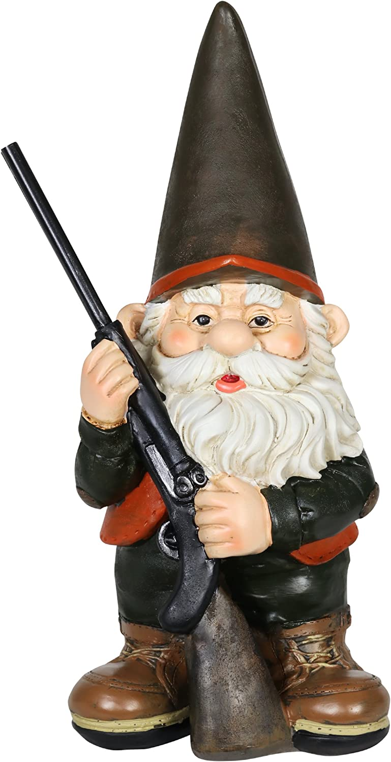 """Exhart Hunting Gnome with Rifle Garden Statue, Resin, 7"""" L x 6"""" W x 13"""" H"""