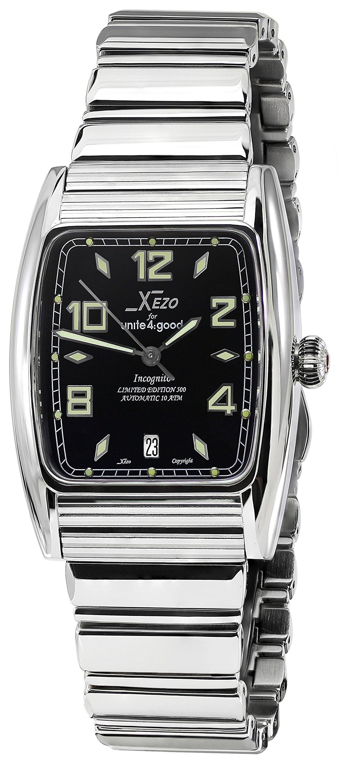 Xezo Incognito Men's 10 ATM Water Resistant Tonneau Watch, Silver