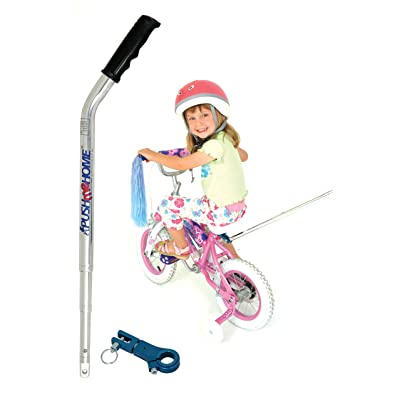 Push me Home Parent assistance push handle for kids bike with training wheels or stabilisers with strong removable aluminium lightweight handle and clamp to assist toddlers to ride their first bicycle : Sports & Outdoors