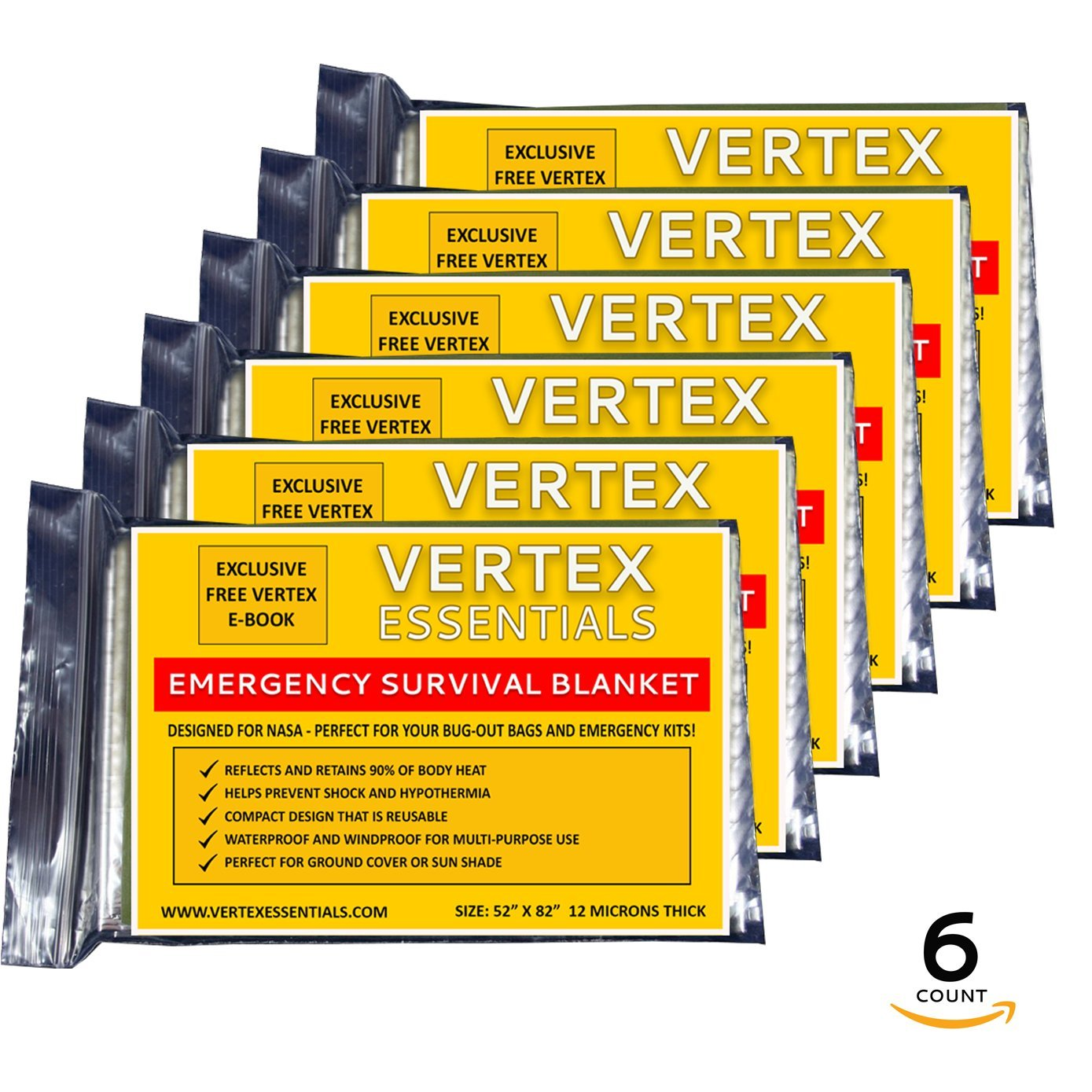Emergency Blanket (6-Pack), Gold 52'' x 82''. Designed for NASA with up to 90% Heat Retention. Waterproof, Mylar Thermal Blankets for Backpacking, First Aid Kit, Bug Out Bag