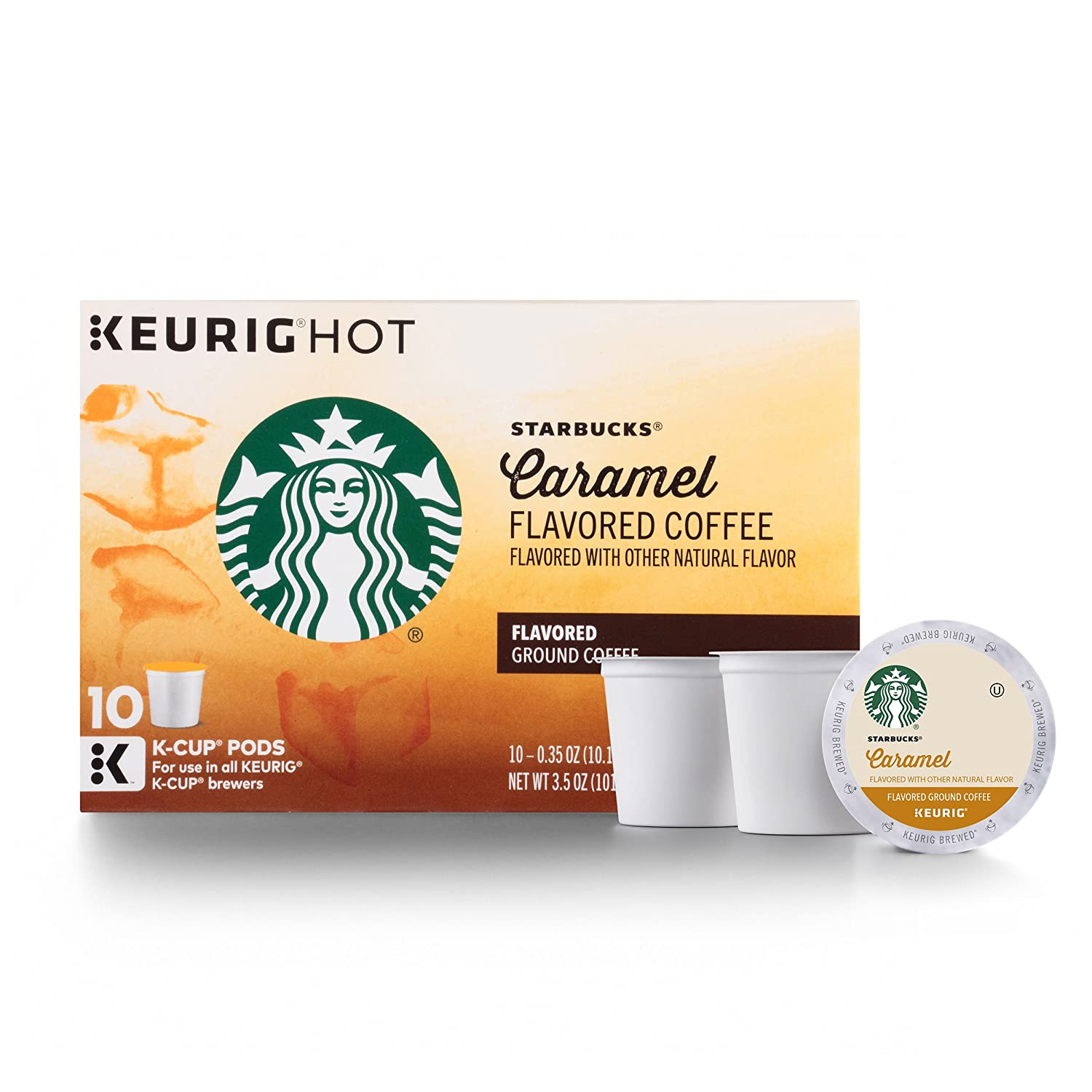 Starbucks Caramel Flavored Medium Roast Single Cup Coffee for Keurig Brewers, 6 Boxes of 10 (60 Total K-Cup pods)