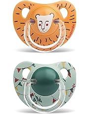 Suavinex León - Pack de 2 chupetes, +18 meses, tetina de silicona, color naranja y verde