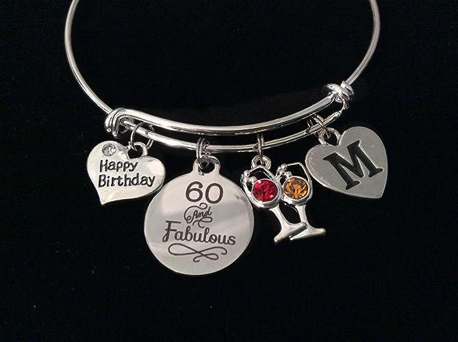 5d8a74435b5d4 Amazon.com: Happy Birthday 60 and Fabulous Expandable Charm Bracelet ...