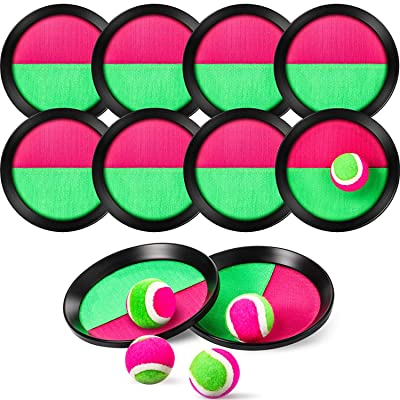 Toss and Catch Paddle Game Set with 10 Paddles and 5 Balls for Self-Stick Paddle Sport Game Teenagers and Adults: Toys & Games