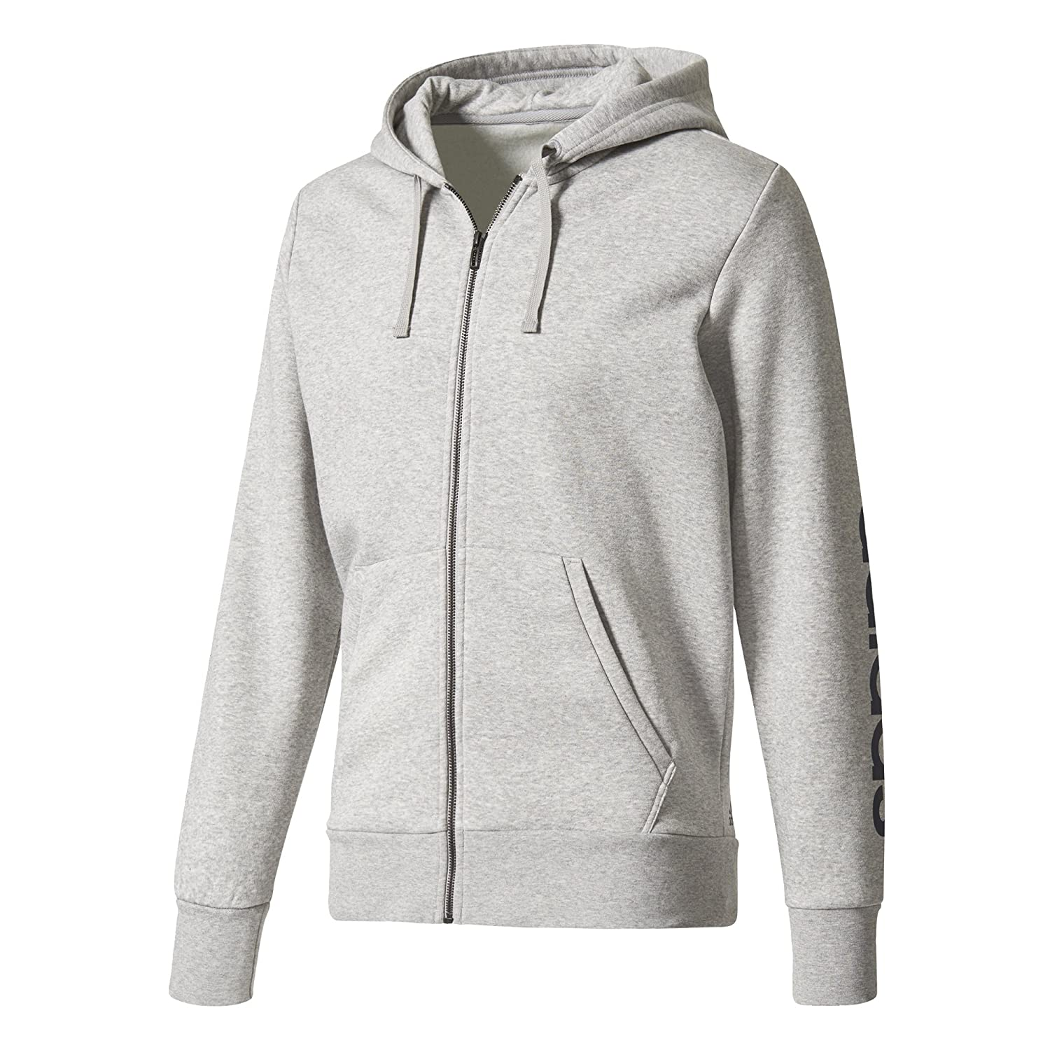 adidas Essentials Linear Full-Zip Hood Fleece at Amazon Mens Clothing store: