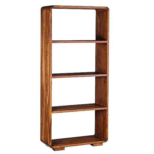 FineBuy Bücherregal Massiv-Holz Sheesham 85 x 190 cm Wohnzimmer ...