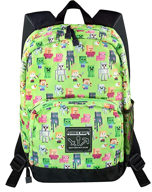 Minecraft Steve Overworld Sprites Green Backpack Polyester Rucksack: Amazon.es: Ropa y accesorios