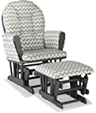 Stork Craft Custom Hoop Glider and Ottoman, Gray/Gray Chevron