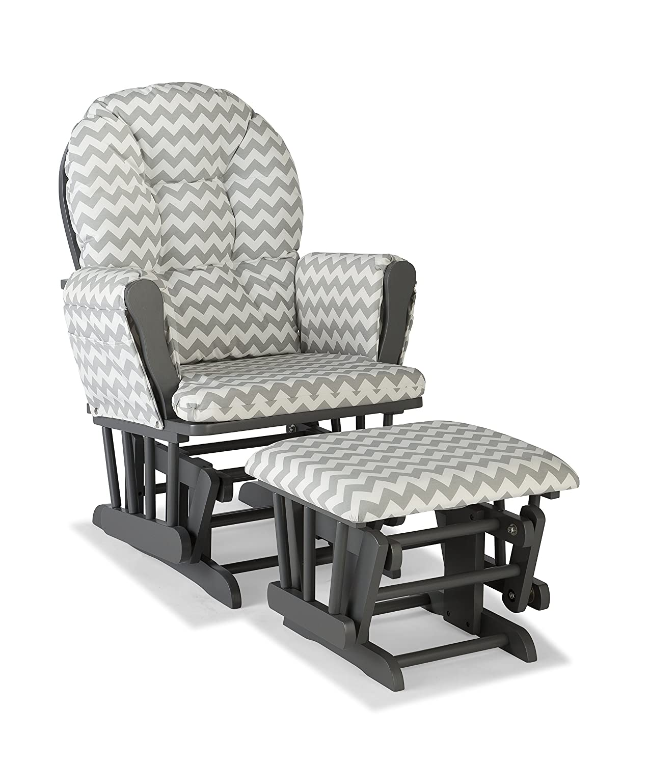Storkcraft Hoop Custom Glider and Ottoman, Gray/Gray Chevron 06550-610G