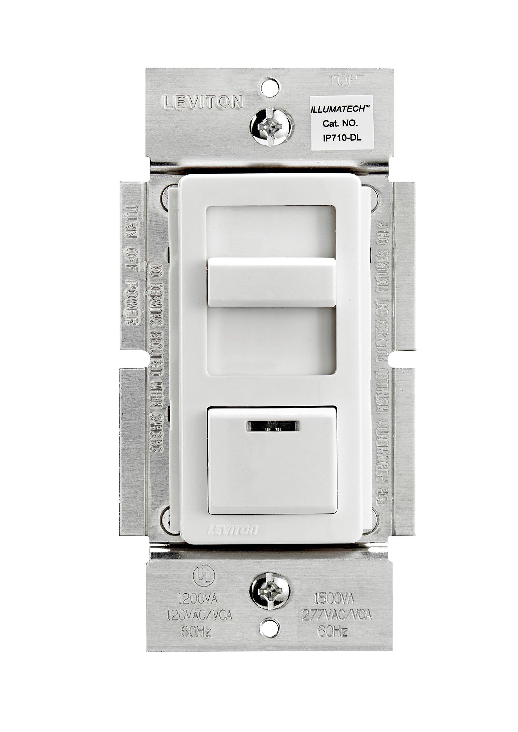 Leviton IP710-DLZ IllumaTech 1200VA Preset Fluorescent Slide Dimmer, Single Pole and 3-Way, White/Ivory/Light Almond