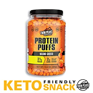 Twin Peaks Low Carb, Keto Friendly Protein Puffs, Nacho Cheese (300g, 21g Protein, 2g Carbs)