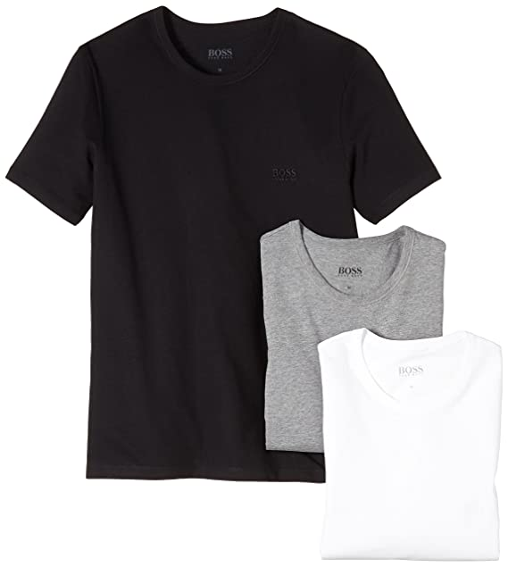23792d2c9 Hugo Boss 3-Pack Crew-Neck Men's T-Shirts, Black/White/Grey: Amazon ...