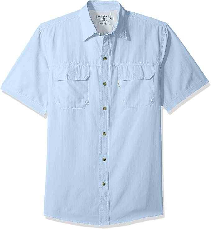 G.H. Bass & Co. Men's Explorer Short Sleeve Button Down Fishing Shirt Solid Flap Pocket best men's fishing shirt