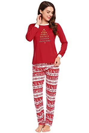 96bae934bd Langle Women s Christmas Deer Night Wear Soft Cotton Pajamas Sleepwear Set  (Red