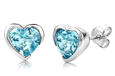 ByJoy Earrings for Women Sterling Silver heart Studs earrings Sky Blue Topaz 925 Silver Mr4SJE