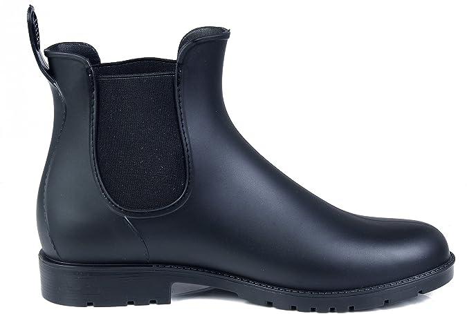 AgeeMi Shoes Damen Rund Schließen Zehe Gummistiefel Regenstiefel Chelsea Boots,EuY05 Schwarz 34