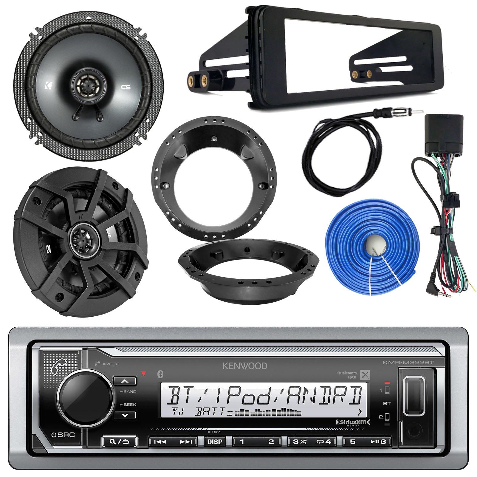 Kenwood Marine Digital Media Bluetooth Receiver, 2x Kicker 600-Watt 6.5'' Black Speakers, 1998-2013 Harley Speaker Mounting Ring Adapter, Single-DIN Stereo Installation Kit, 50 FT 14 AWG Wire, Antenna