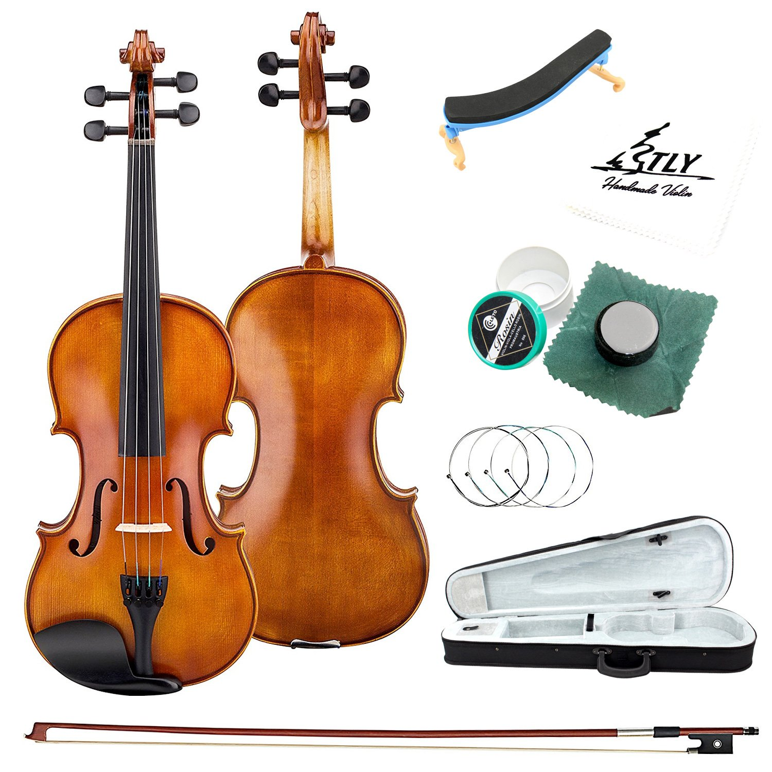 TLY Acoustic Professional Violin Handmade Wooden Outfit Beginner Pack for Student, Size 3/4