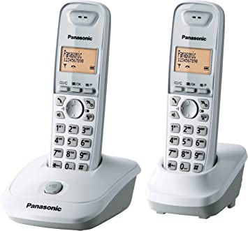 Panasonic KX-TG2512FRW Duo - 2 teléfonos fijos inalámbricos DECT, color blanco (importado): Amazon.es: Electrónica