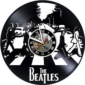 Wall Clock Compatible with Vinyl The Beatles - Vinyl Record Handmade - Vintage - Home Decor -Original Gift Idea for Birthday Anniversary Christmas Men Women Girls Boys Teens & Everyone!